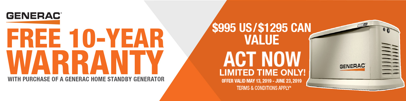 Free 10-Year Warranty with Purchase of Generac Home Standby Generator - Terms and Conditions Apply