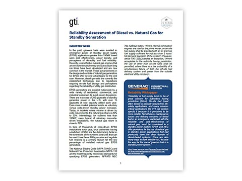 Reliability Assessment of Diesel vs. Natural Gas for Standby Generation (GTI)