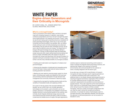 Engine-driven Generators and their Criticality in Microgrids