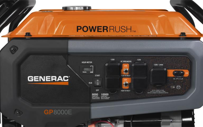 Generac Power Systems 8000 Watt Gp Series Portable Generator With Electric Start 7686