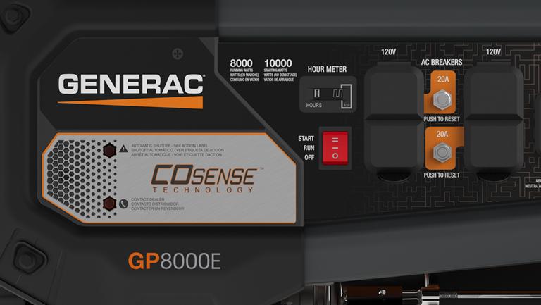 Generac <strong>GP Series 8000E COsense® </strong> Portable Generator